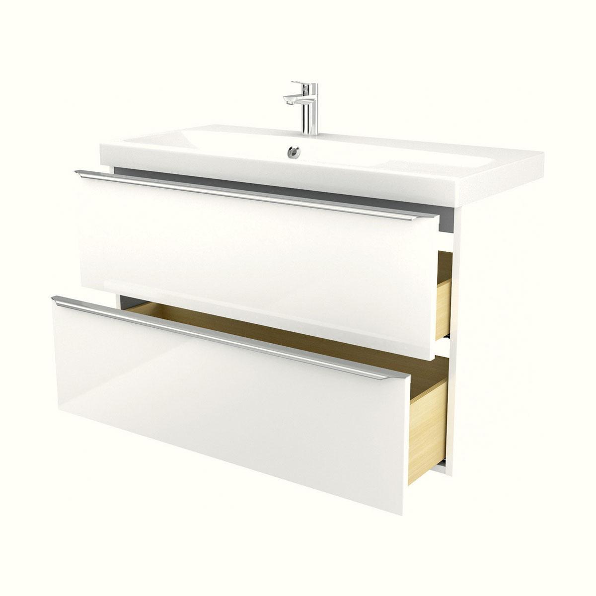 meuble sous vasque blanc à suspendre imandra l. 100 cm