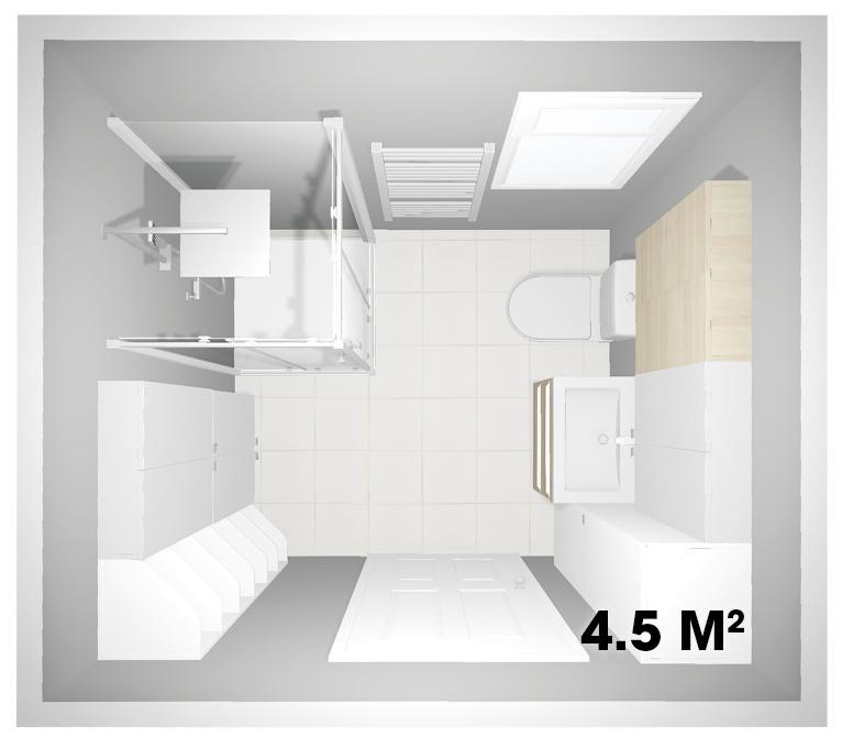 plan salle de bains bien être 4,5m2