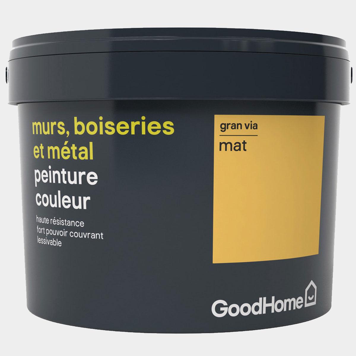 Peinture haute résistance murs, boiseries et métal intérieure acrylique mat jaune Gran Via 2,5 l