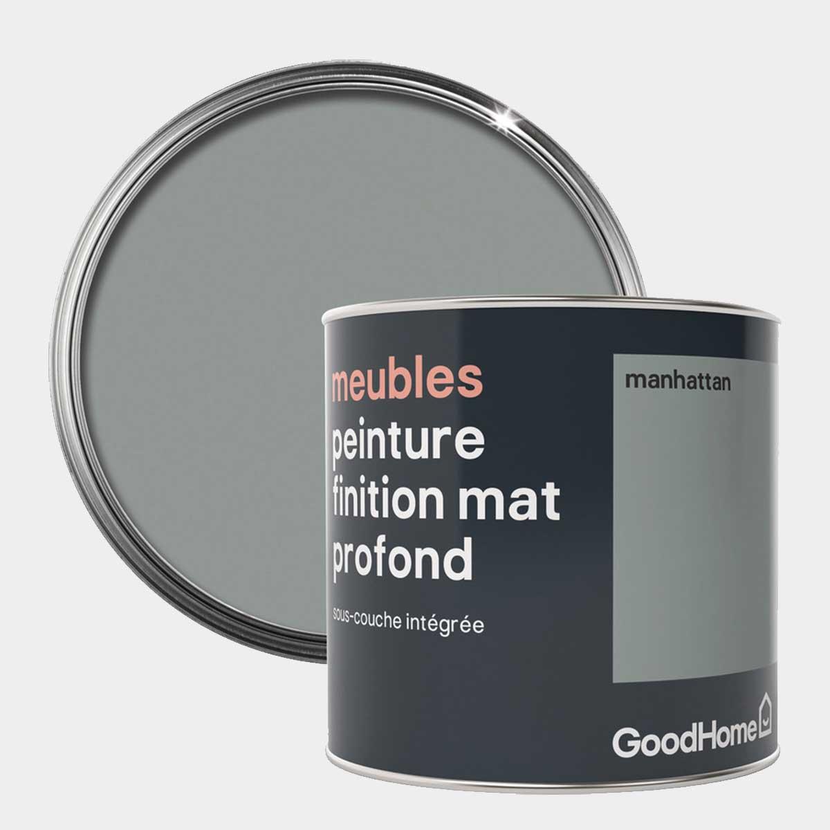 Peinture de rénovation meubles aspect mat profond gris Manhattan 0,5 l