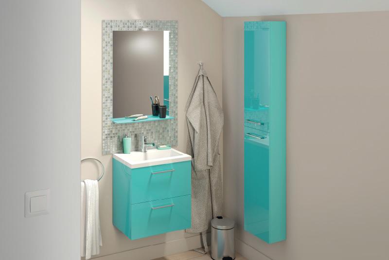 Meuble salle de bain bleu canard & bleu lagon Slim - Brico Dépôt