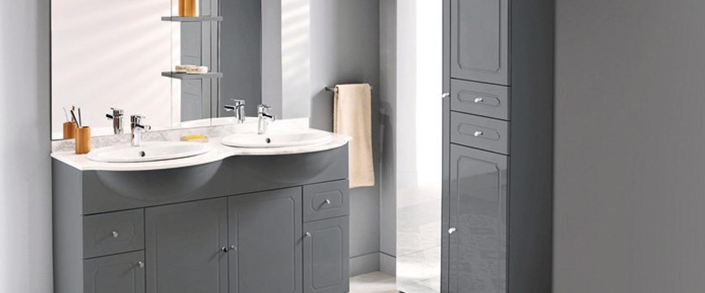 """Lensemble """"Majorca"""" gris 17 cm. Caisson + coque + plan marbre double +  miroir LED 17 cm"""