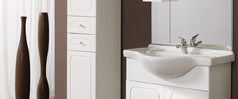 """Lensemble """"Majorca"""" blanc 20 cm. Caisson + bandeau + plan vasque céramique  + miroir LED 20 cm"""