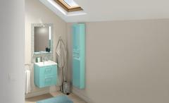 Meuble Salle De Bain Bleu Canard Bleu Lagon Slim Brico Dépôt - Plinthe carrelage et tapis de bain bleu lagon