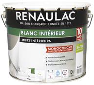 Merveilleux Peinture Blanche Acrylique Aspect Satiné 10 L   RENAULAC