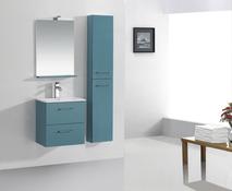 Meuble salle de bain bleu canard bleu lagon slim brico - Meuble de salle de bain brico depot ...