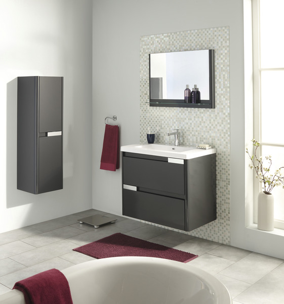 Meuble Salle De Bain Teck Brico Depot Basic Search Results Cash MEUBLE SALSA GRIS 80 CM Le Plan Vasque
