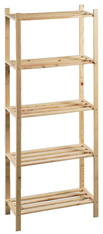Tag re en bois de 5 tablettes fixes h 170 x l 70 x p for Etagere bois brut