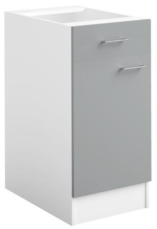 meuble bas 1 porte 1 tiroir bali gris l 40 x h 82 x p