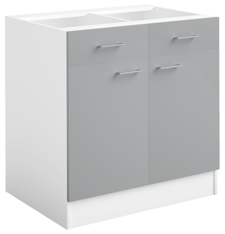 meuble bas 2 portes 2 tiroirs bali gris l 80 x h 82 x p