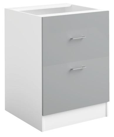 meuble bas 2 tiroirs casseroliers bali gris l 60 x h 82 x p 576