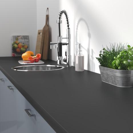 plan de travail stratifi d cor imitation noir mat l 3 m x p 63 cm x p 38 mm brico d p t. Black Bedroom Furniture Sets. Home Design Ideas