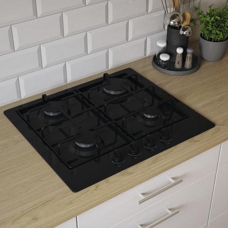 plaque de cuisson gaz noire 4 zones l 56 x p 49 cm. Black Bedroom Furniture Sets. Home Design Ideas