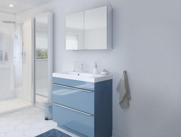 meuble sous vasque poser bleu imandra l 80 x h 82 x p 45 cm brico d p t. Black Bedroom Furniture Sets. Home Design Ideas
