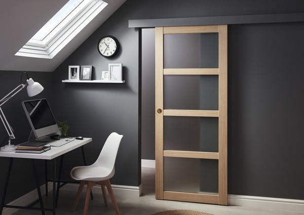 porte coulissante bois vitr e connemara 4 panneaux vitr s. Black Bedroom Furniture Sets. Home Design Ideas