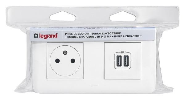 Prise De Courant Chargeur 2 Usb Mosaic Boite à Encastrer 16 Ampères 250 V Legrand