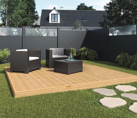 lot de 3 lames de cl ture composite gris fonce neva l 1 79 m x l 15 7 cm x p 21 5 mm. Black Bedroom Furniture Sets. Home Design Ideas