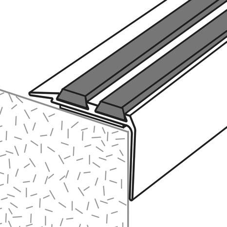 Nez De Marche Aluminium Effet Argent Long 1800 X Larg 40 X ép 20 Mm Goodhome