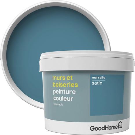 Peinture Murs Et Boiseries Interieure Acrylique Satin Bleu Marseille 2 5 L Brico Depot