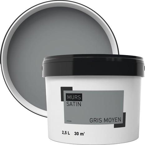Peinture murale intérieure acrylique satin gris moyen 2,5 l