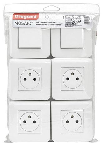 Lot De 2 Va Et Vient Et 4 Prises De Courant Surface Mosaic Blanc Brico Depot