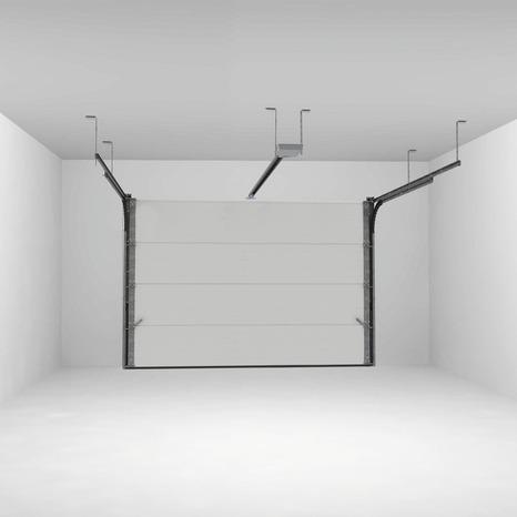 Porte De Garage Sectionnelle Motorisee H 200 Cm L 300 Cm Blanche