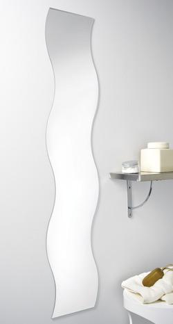 miroir argent entour de bords polis de forme vague h 120 cm l 25 cm brico d p t
