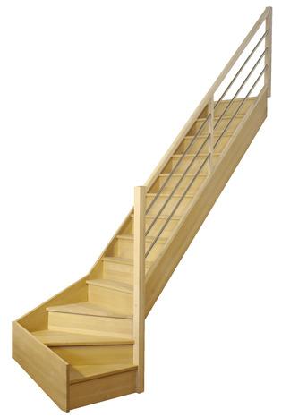 Escaliers 1 4 Tournants Hêtre Rampe Inox L Escalier Brico Dépôt