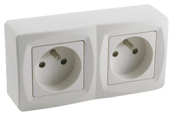 double prise 2p t brico d p t. Black Bedroom Furniture Sets. Home Design Ideas