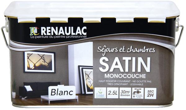 Peinture Murale Sejours Et Chambres Renaulac 2 5 L Blanc Brico Depot