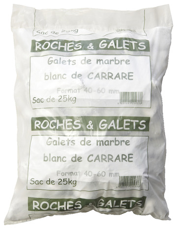 galet marbre blanc le sac de 25 kg brico d p t. Black Bedroom Furniture Sets. Home Design Ideas