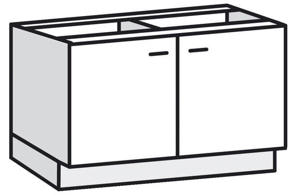 sous-Évier 120cm -2 portes - bali blanche meuble sous-Évier 120cm