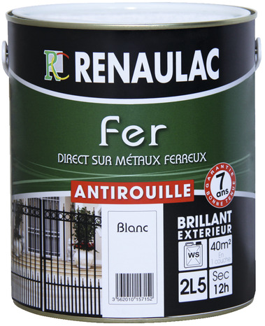 peinture fer anti rouille renaufer blanc brillant pour ferronneries m taux ferreux alliages 0. Black Bedroom Furniture Sets. Home Design Ideas