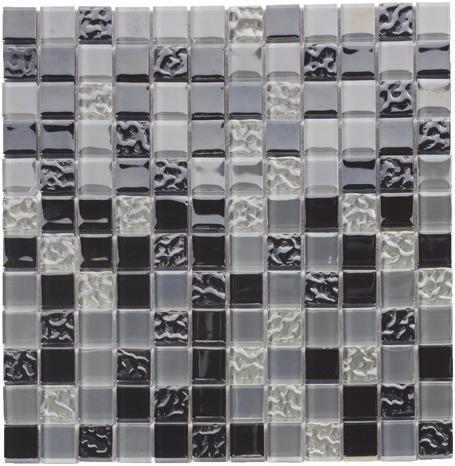 Mosaïque De Verre Mix Noir Argent Effet Irisé Bosselé Pour Murs Et Plafonds 30x30 Cm Ep 4 Mm