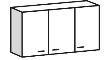 meuble haut 3 portes bali blanc l 120 x h 69 x p 31 6 cm brico d p t. Black Bedroom Furniture Sets. Home Design Ideas