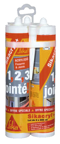 3 cartouches de mastic acrylique 300 ml pour murs int rieurs et ext rieurs brico d p t. Black Bedroom Furniture Sets. Home Design Ideas