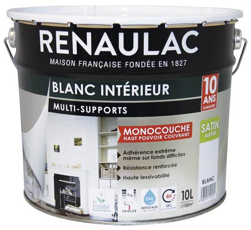 peinture alkyde blanc satin pour toutes les surfaces 10 l brico d p t. Black Bedroom Furniture Sets. Home Design Ideas