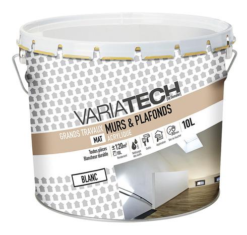 Peinture Acrylique Blanc Mat Pour Les Murs Et Plafonds 10 L Variatech