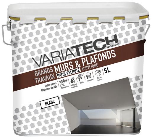 peinture acrylique blanc satin velout pour les murs et plafonds 5 l brico d p t. Black Bedroom Furniture Sets. Home Design Ideas