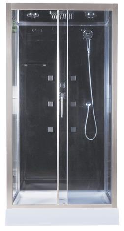 Cabine de douche noir profil s en aluminium chrom h 218 cm l 110 cm p 9 - Cabine de douche noir ...