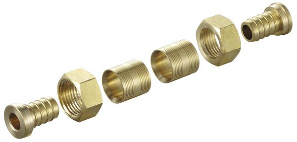 raccords à glissement en laiton pour tube per Ø 16 mm avec embout