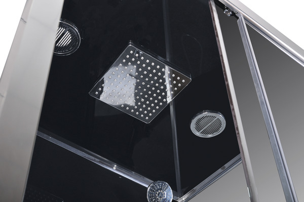 cabine de douche noir profil s en aluminium chrom h 218. Black Bedroom Furniture Sets. Home Design Ideas