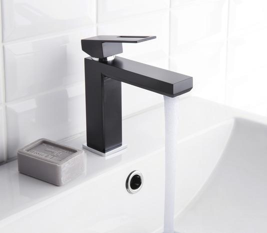 mitigeur de lavabo dole noir mat chrom h 15 6 cm brico d p t. Black Bedroom Furniture Sets. Home Design Ideas