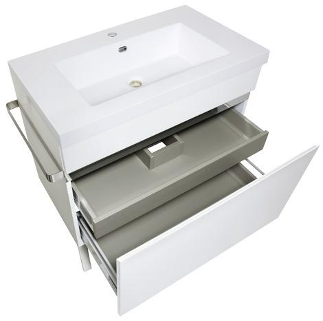 caisson new york blanc laqu et brillant l 80 x h 84 5 x l 85 cm brico d p t. Black Bedroom Furniture Sets. Home Design Ideas