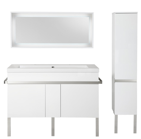 caisson laqu blanc brillant l 130 x h 84 5 x p 45 cm brico d p t. Black Bedroom Furniture Sets. Home Design Ideas