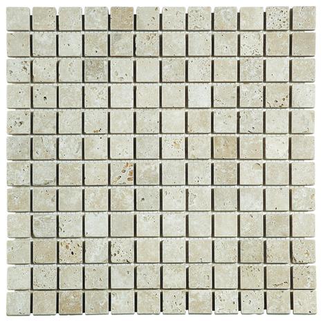 mosa que pierre naturelle travertin beige 30x30 cm carreau 2 3x2 3 cm brico d p t. Black Bedroom Furniture Sets. Home Design Ideas