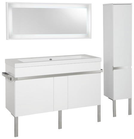 Meuble new york blanc l 120 cm brico d p t for Salle de bain new york