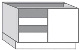 Caisson D Angle Bas Blanc En Melamine L 100 X H 85 X P 56 Cm