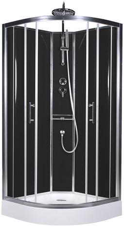 cabine de douche noire profil s en aluminium chrom h 225 cm l 90 cm p 90 cm brico d p t. Black Bedroom Furniture Sets. Home Design Ideas