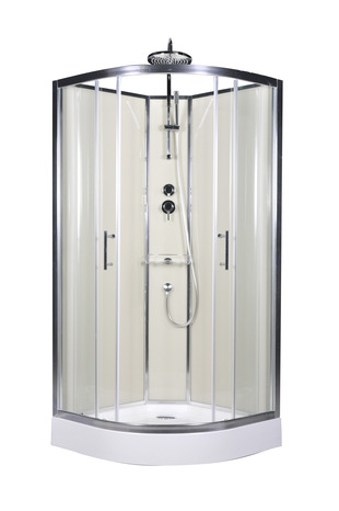 de douche beige profilés en aluminium chromé H. 225 cm, L. 90 cm ...